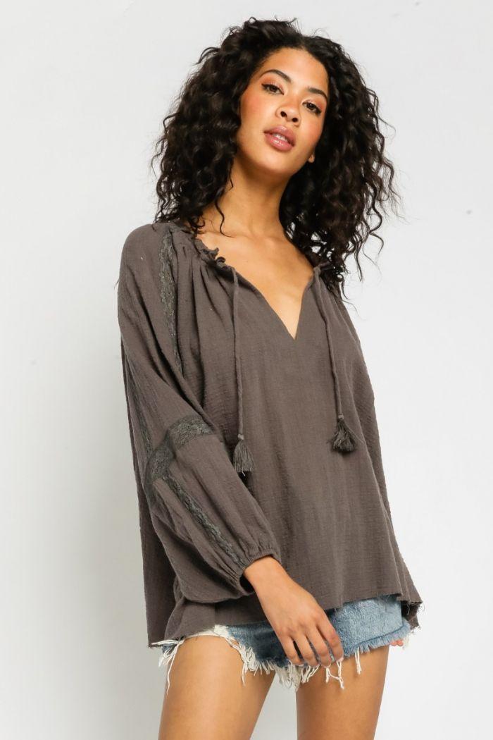 gauze crochet trim blouse