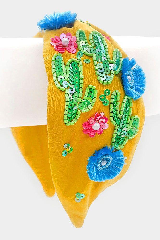 sequin cactus flower headband