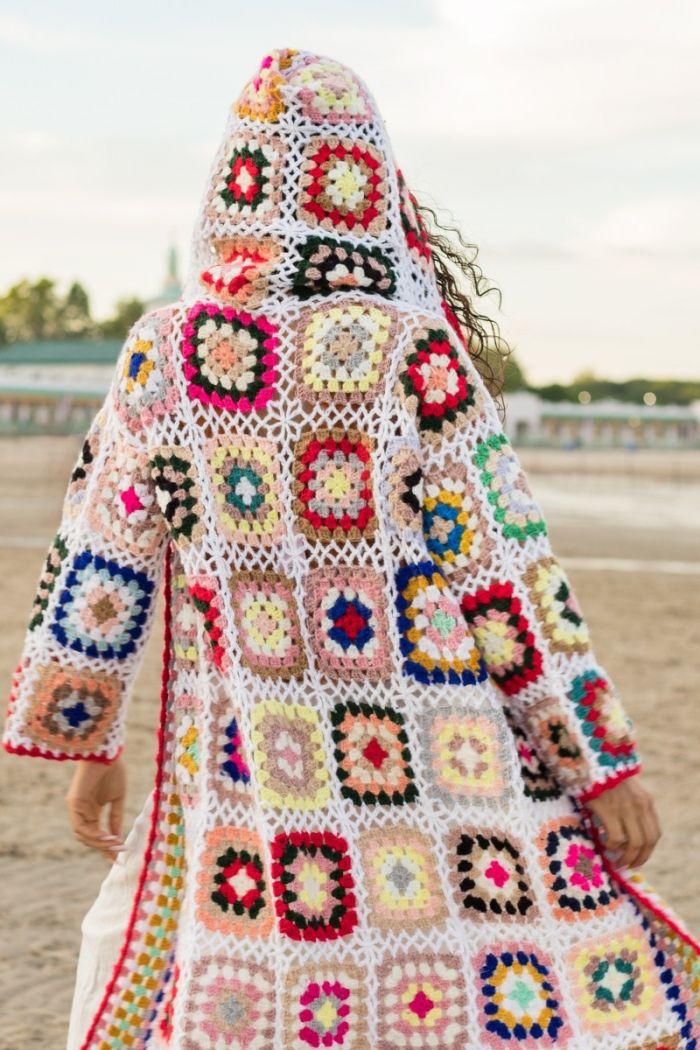 granny square crochet kimono