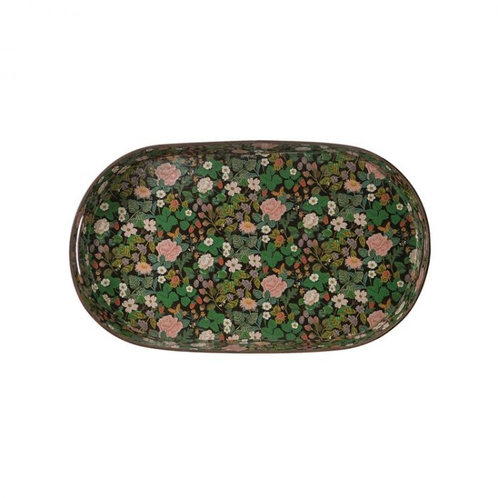 floral metal tray