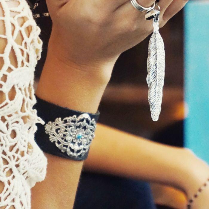 zola filigree leather bracelet