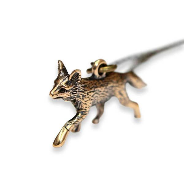Trotting Fox Pendant Necklace - Bronze