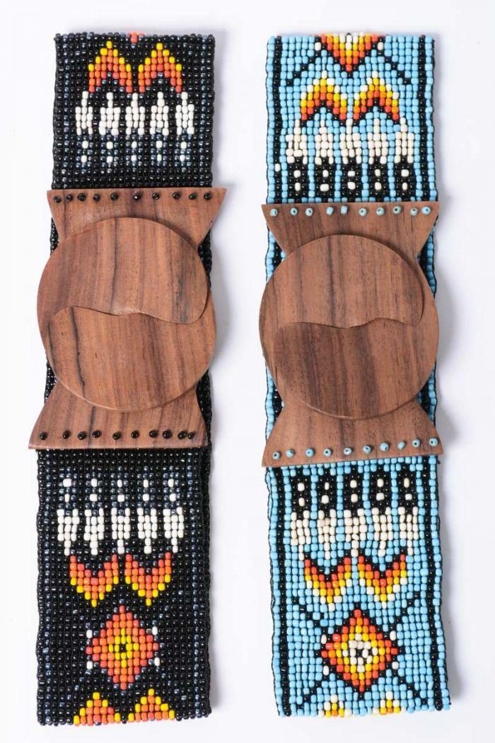 wide tribal pattern bead belt