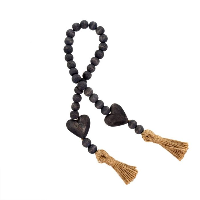 heart blessing beads - grey
