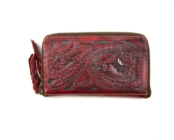 classic tooled zip around wallet