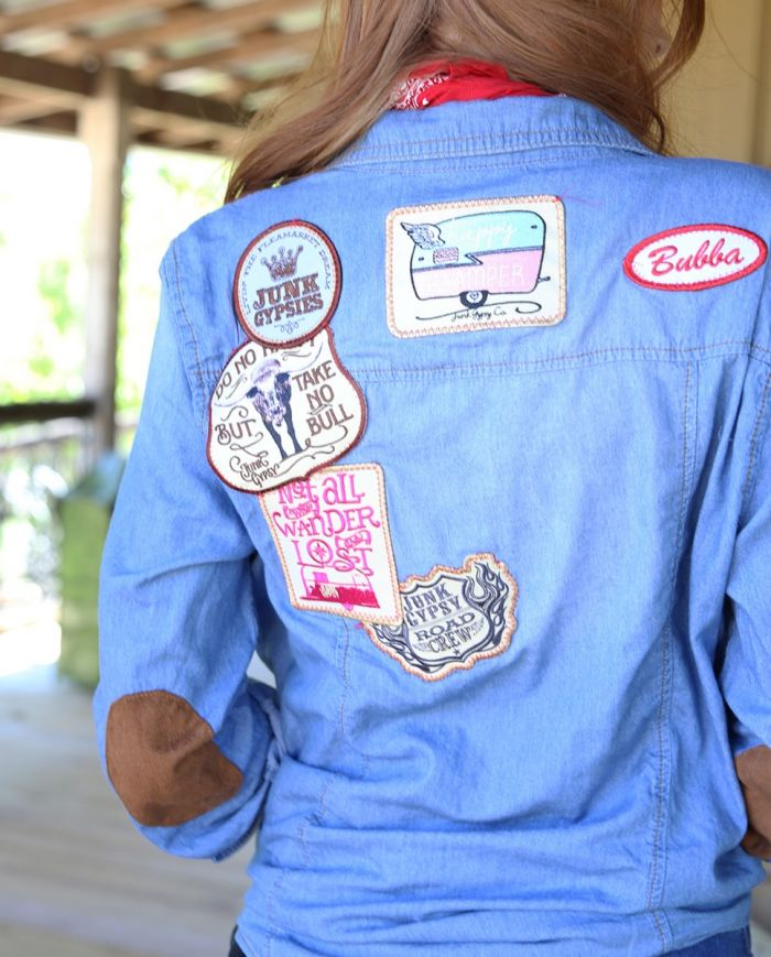 denim button down with patches