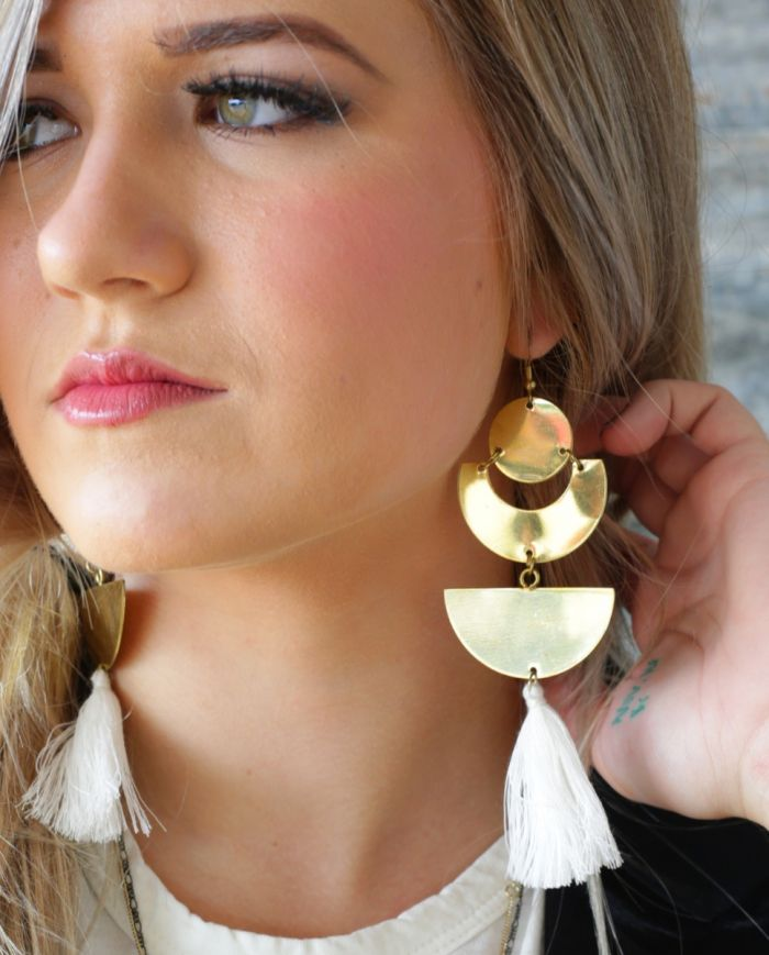 earthling white tassel earring