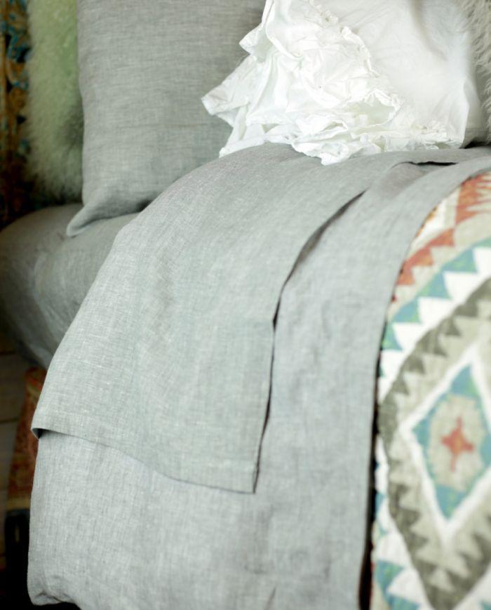 loft grey linen sheet set