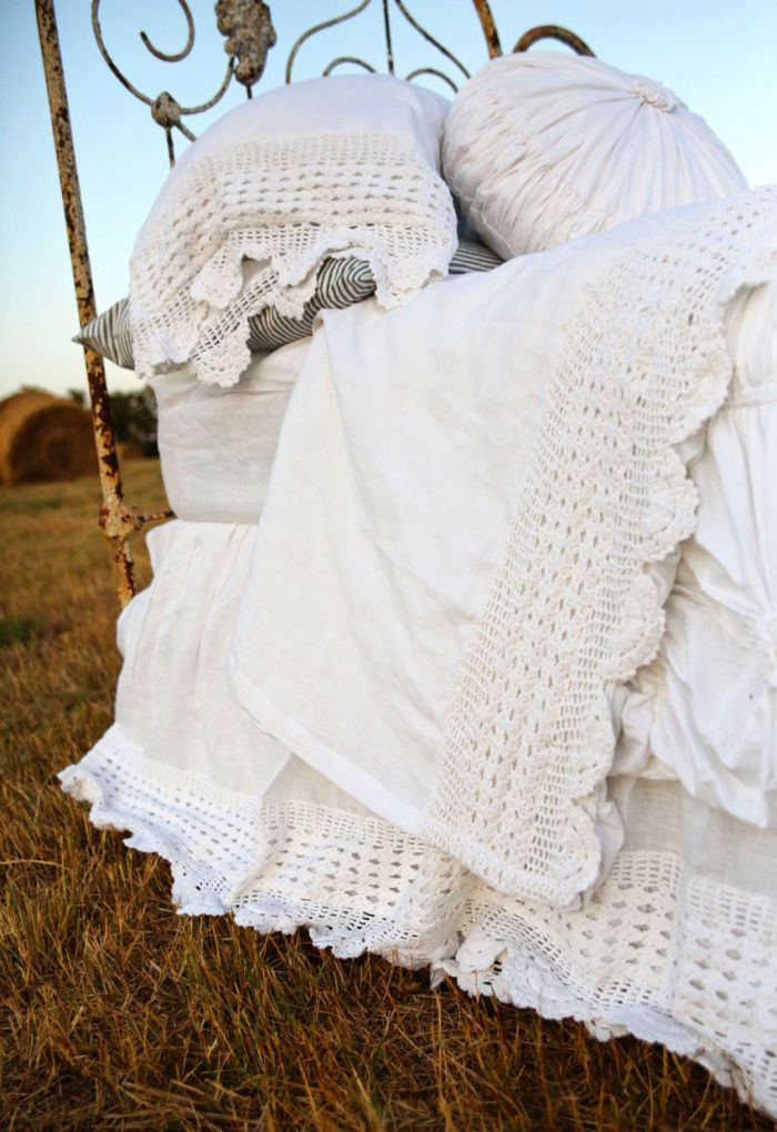 the lucinda crochet linen bedskirt- cloud