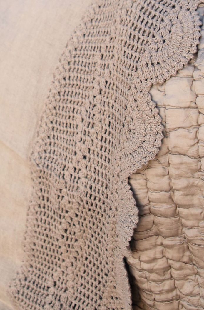 the lucinda crochet linen bedskirt- wheat