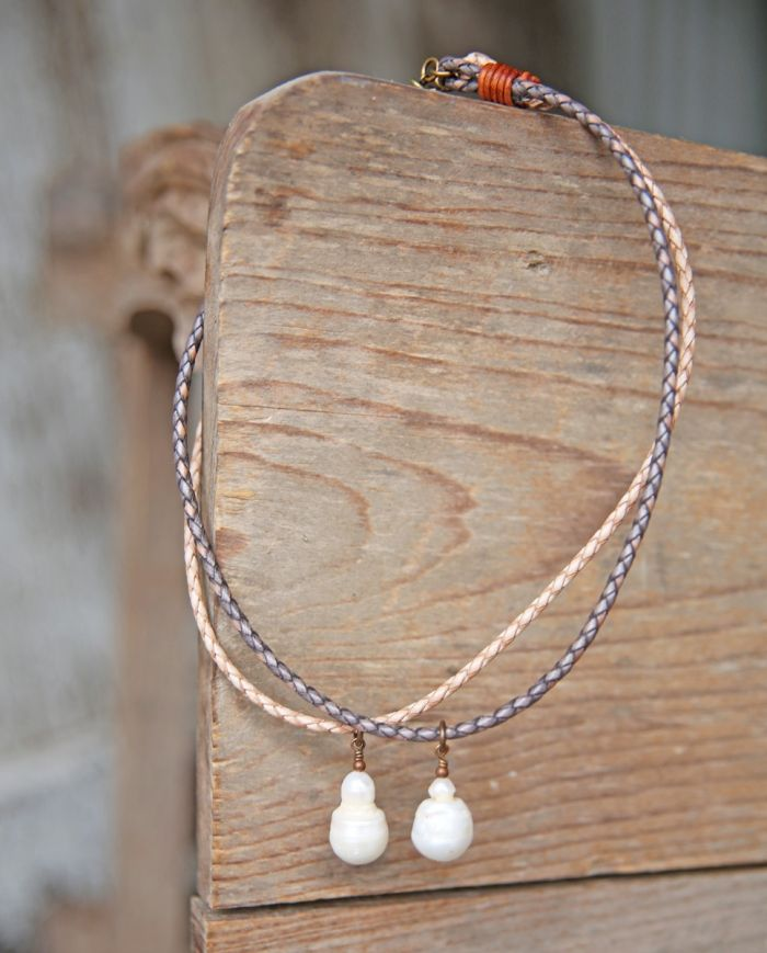 boho braided pearl necklace