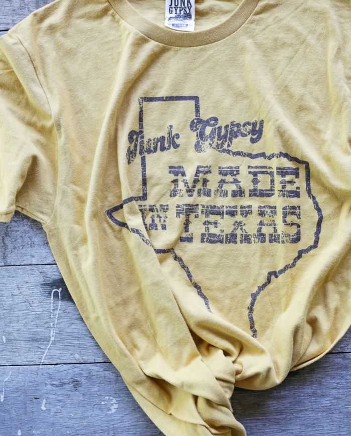 made in texas mustard tee
