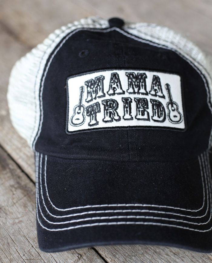 mama tried trucker cap black