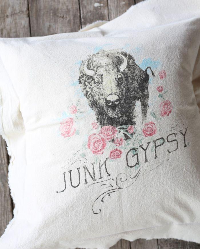 buffalo roses pillow