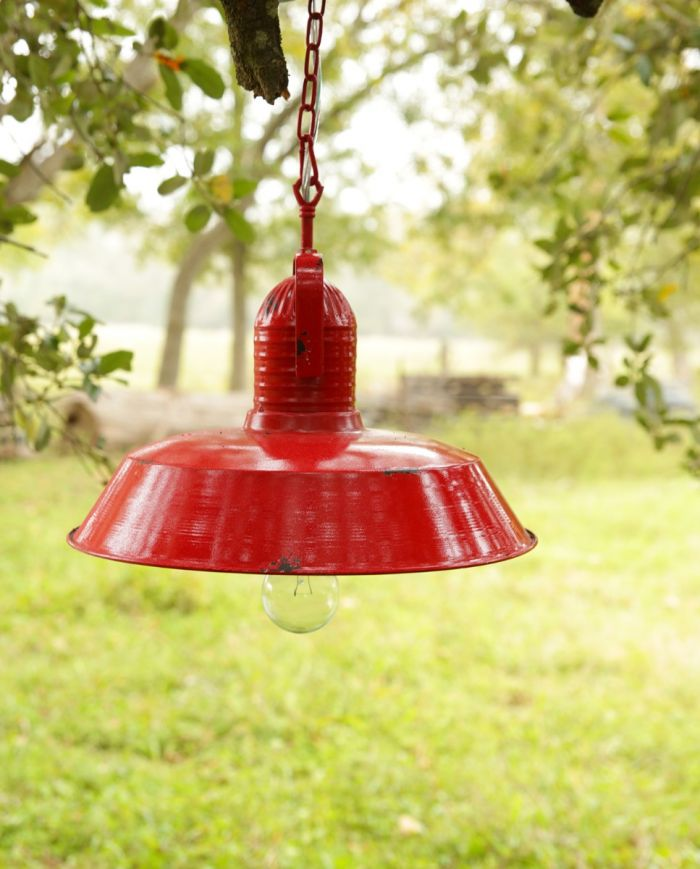 red metal pendant lamp