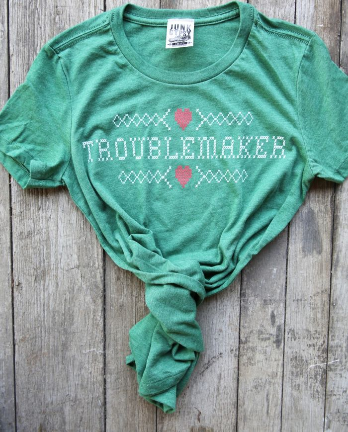 troublemaker tee- heather grass green