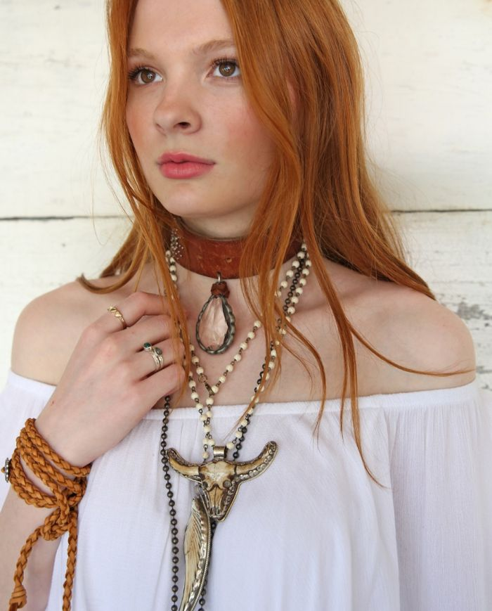 leather choker with crystal