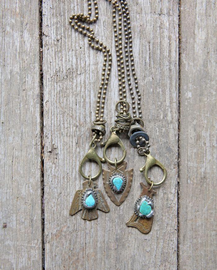 spirit animal brass charm necklace