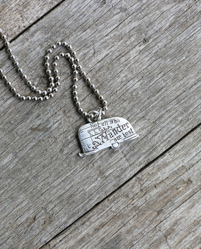 not all who wander pendant necklace