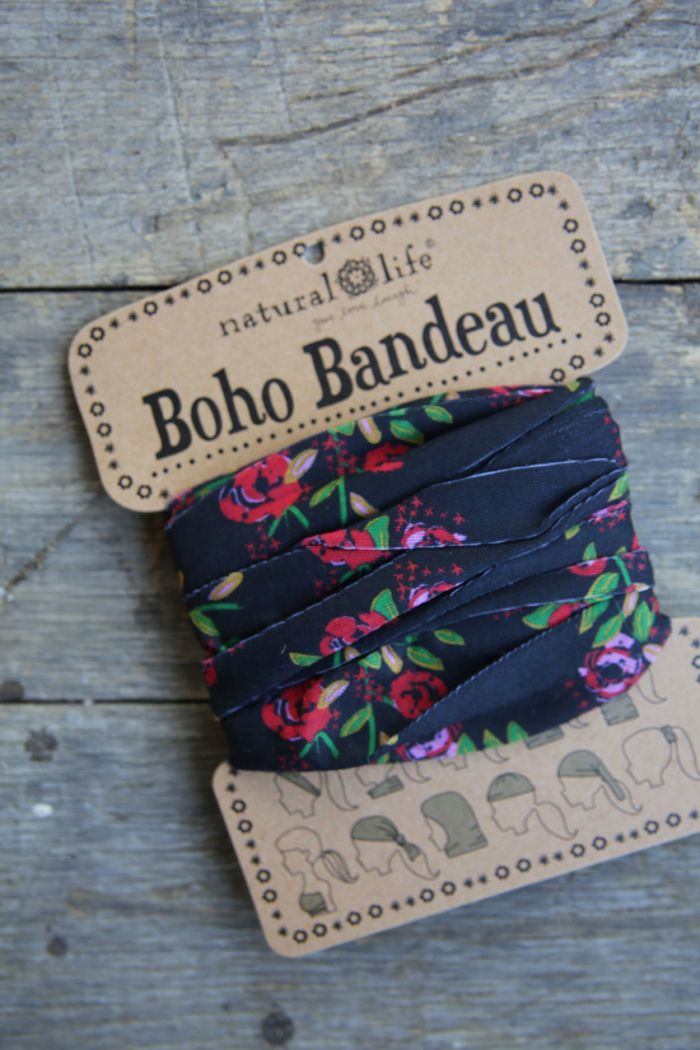 country blooms-black boho bandeau