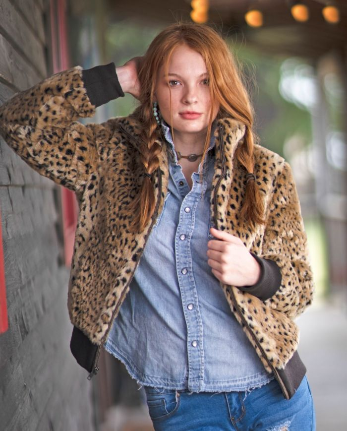 amelia leopard bomber jacket