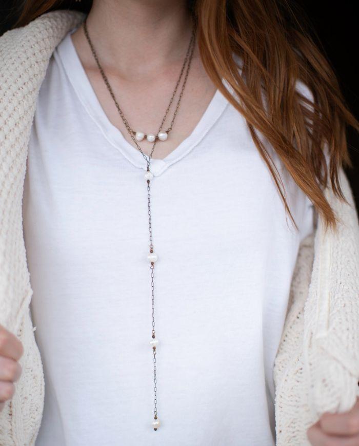hi/lo chain & pearl necklace