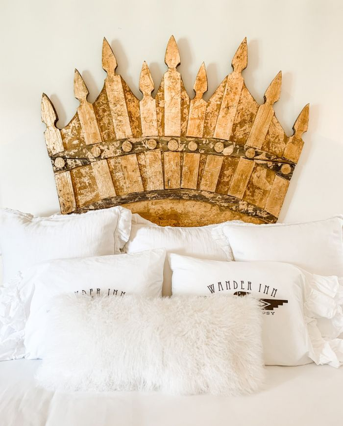 salvage crown art - makes a great headboard!