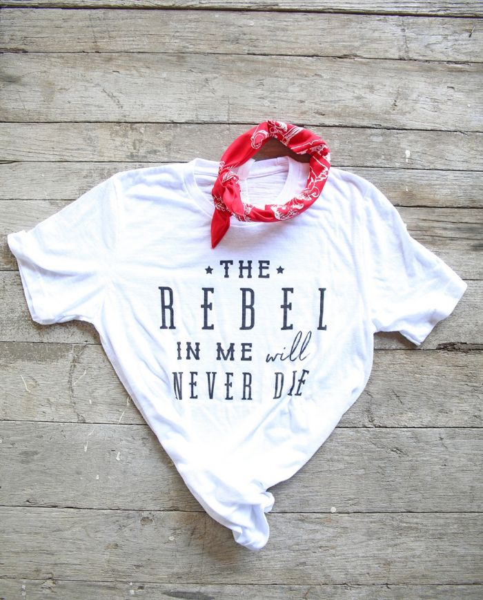 the rebel in me white unisex tee