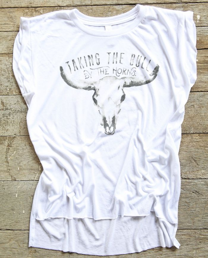 taking the bull by the horns cap sleeve tee