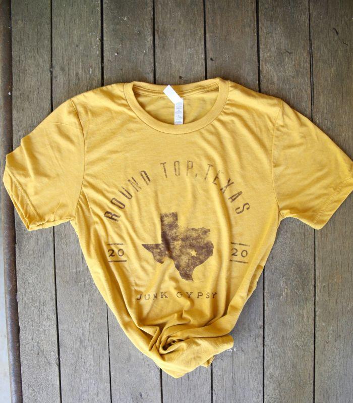 mustard round top texas unisex tee