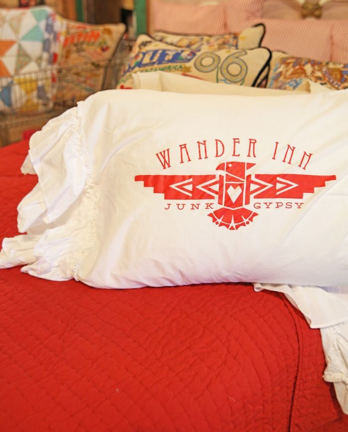 Wander Inn Ruffle Sham- Red Imprint