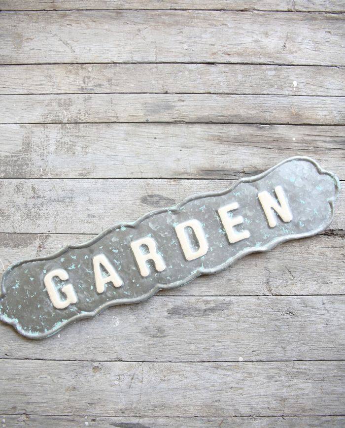 scalloped tin garden sign