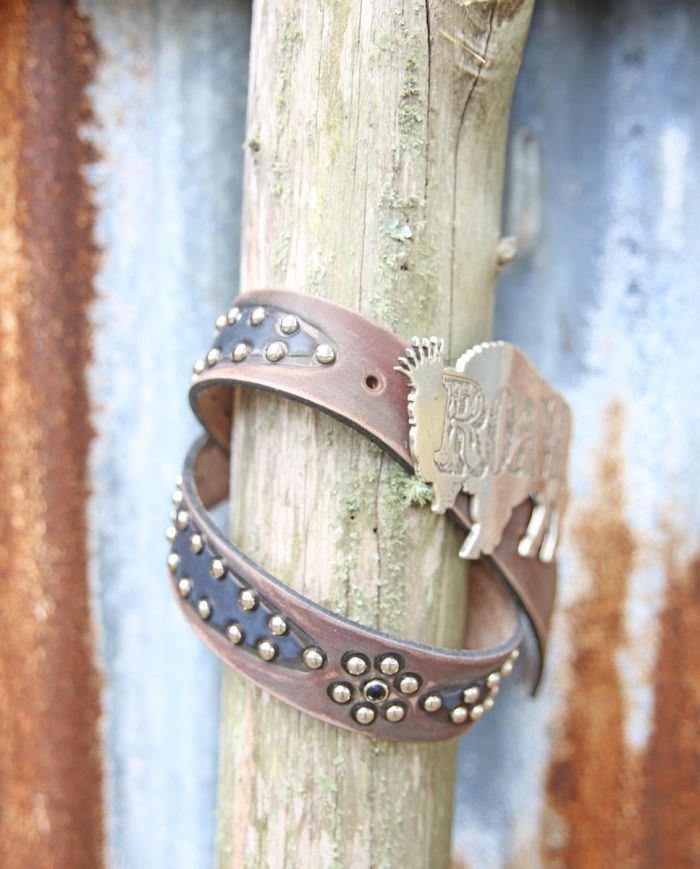 the traveler brown & black studded belt