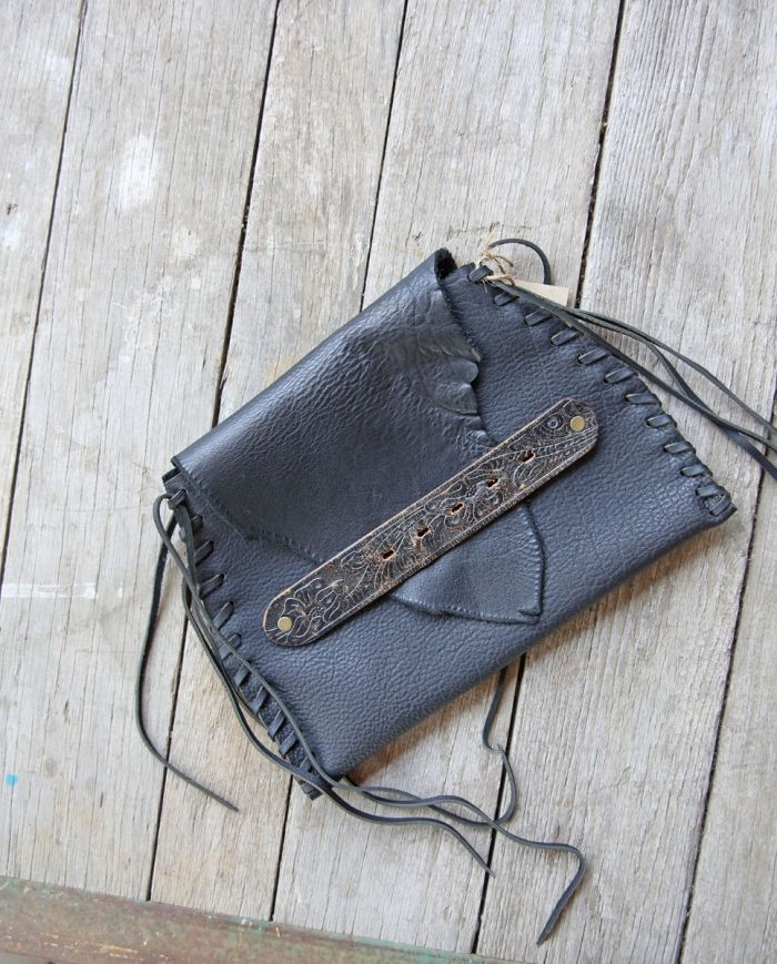 vintage belt handle flap clutch
