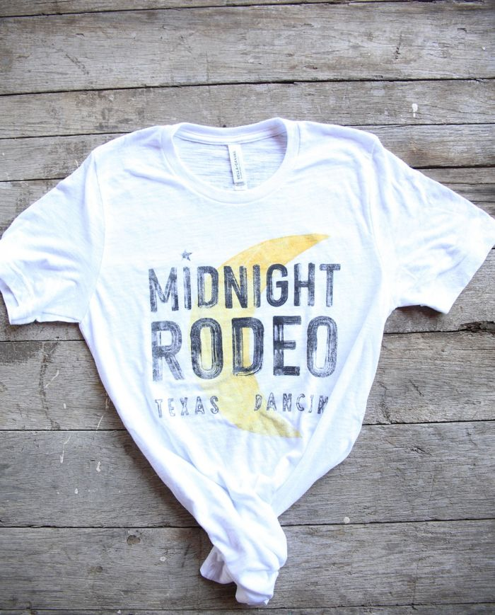 midnight rodeo white slub tee