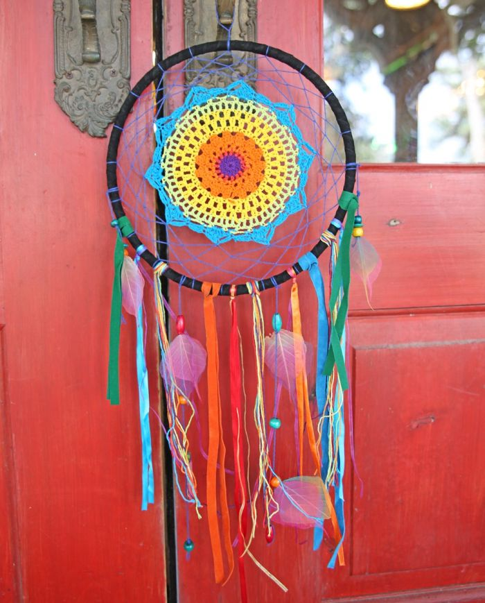 rainbow crochet dreamcatcher