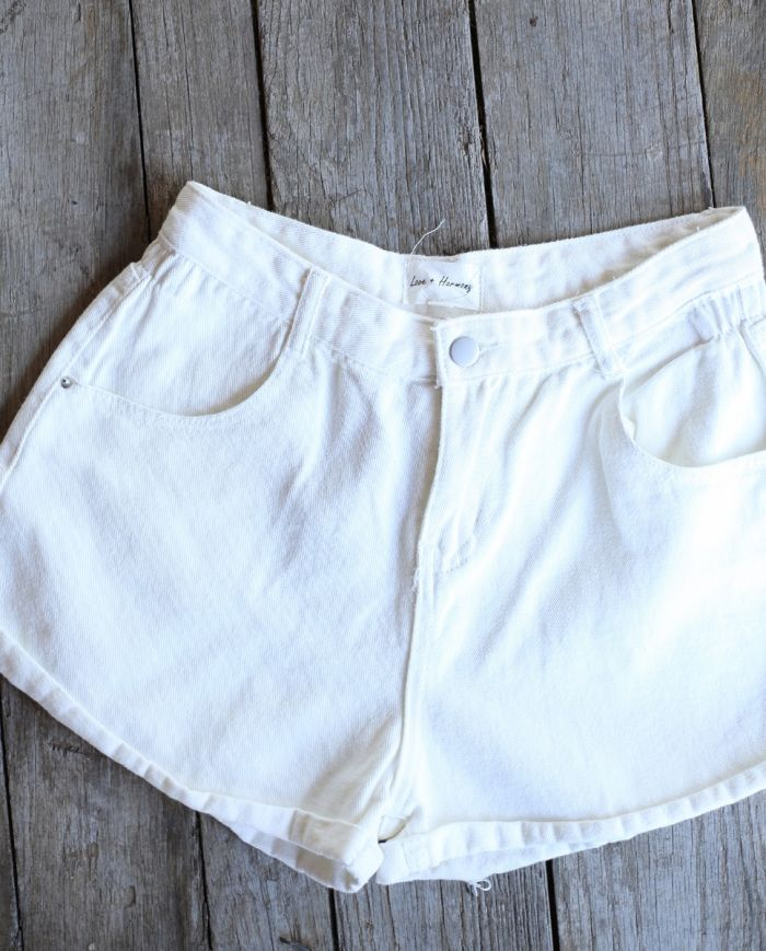 highway washed white vintage shorts