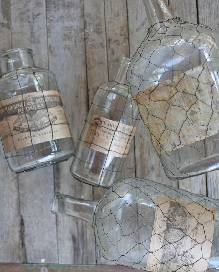 vintage glass bottle with wire