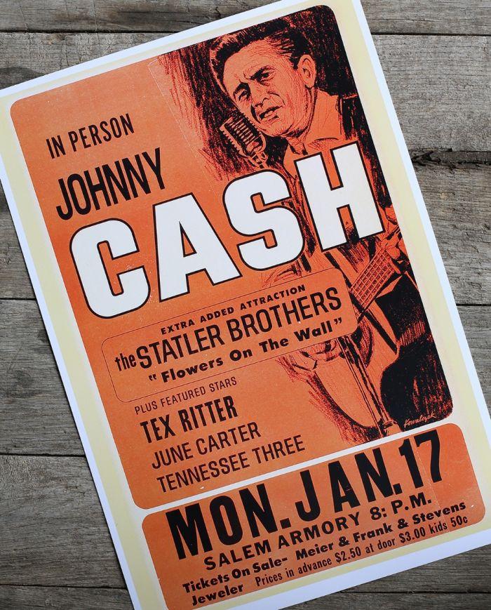 johnny cash - salem armory - poster & postcard