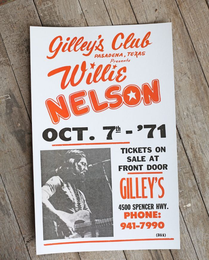 willie nelson - gilleys -1971- poster & postcard