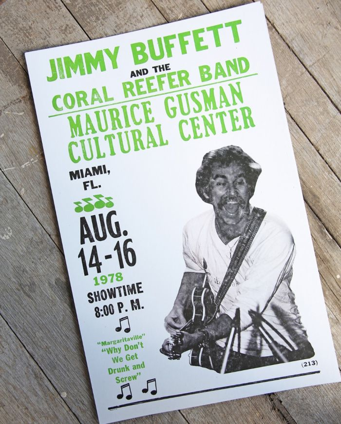 jimmy buffett - miami 1978 - poster or postcard