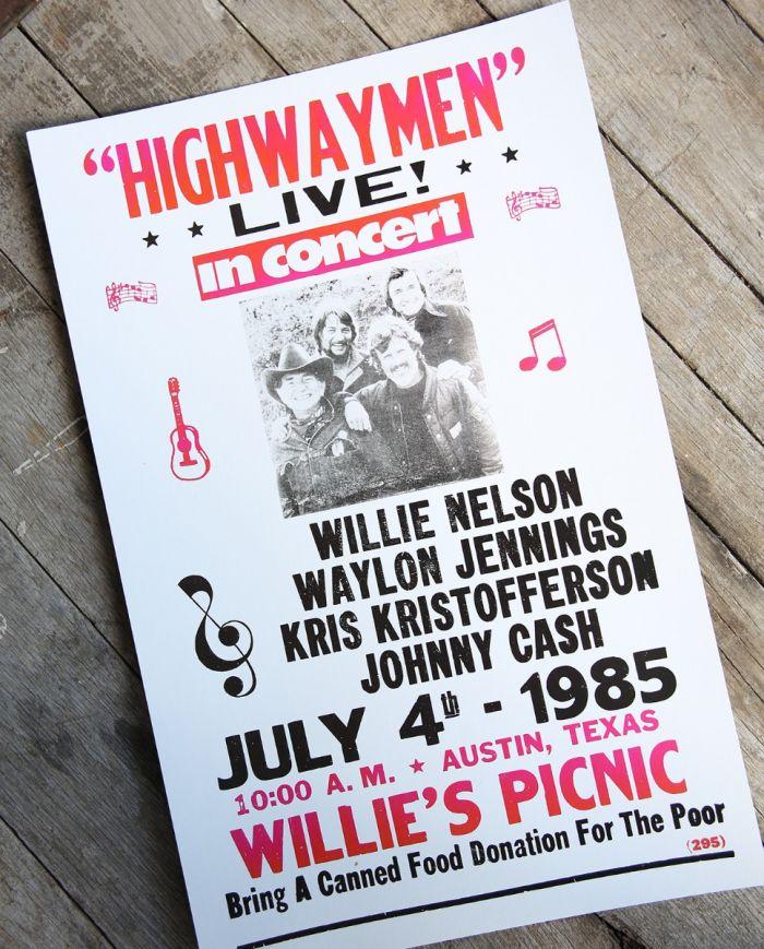 highwaymen live - 1985- poster & postcard