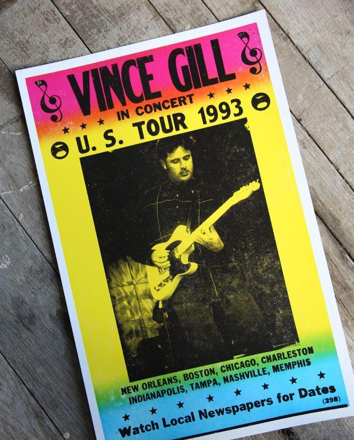 vince gill - us tour 1993 - poster & postcard