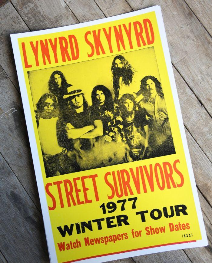 lynyrd skynyrd - tour 1977 - poster & postcard
