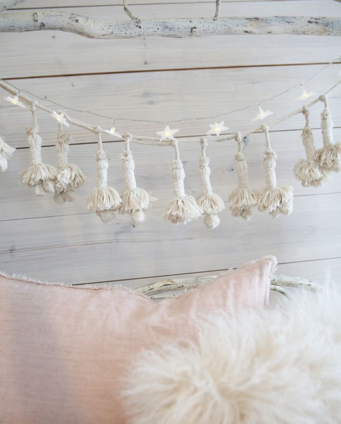 cream cotton tassel garland