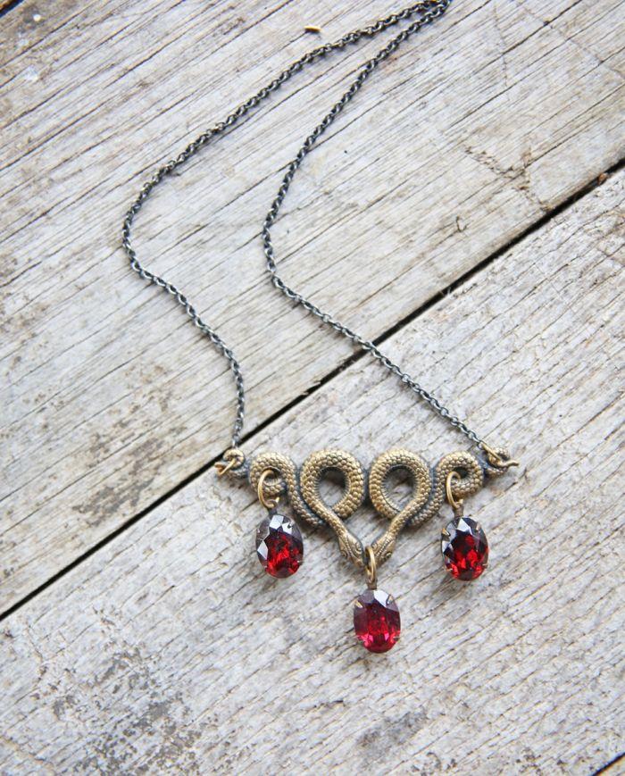 twin serpents garnet necklace