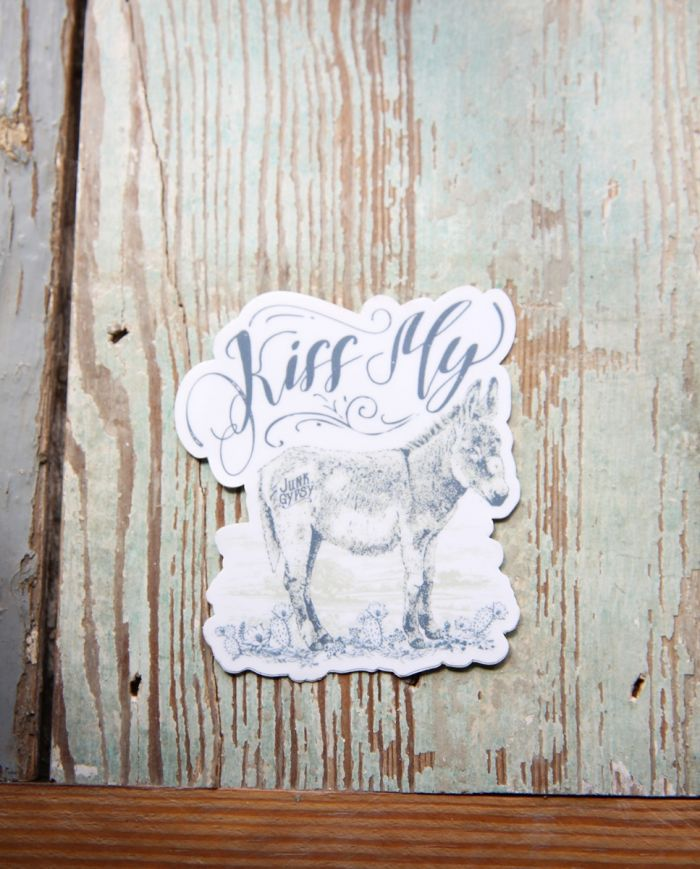 kiss my donkey sticker