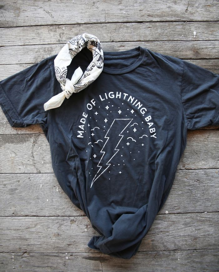 made of lightning baby vintage black unisex tee