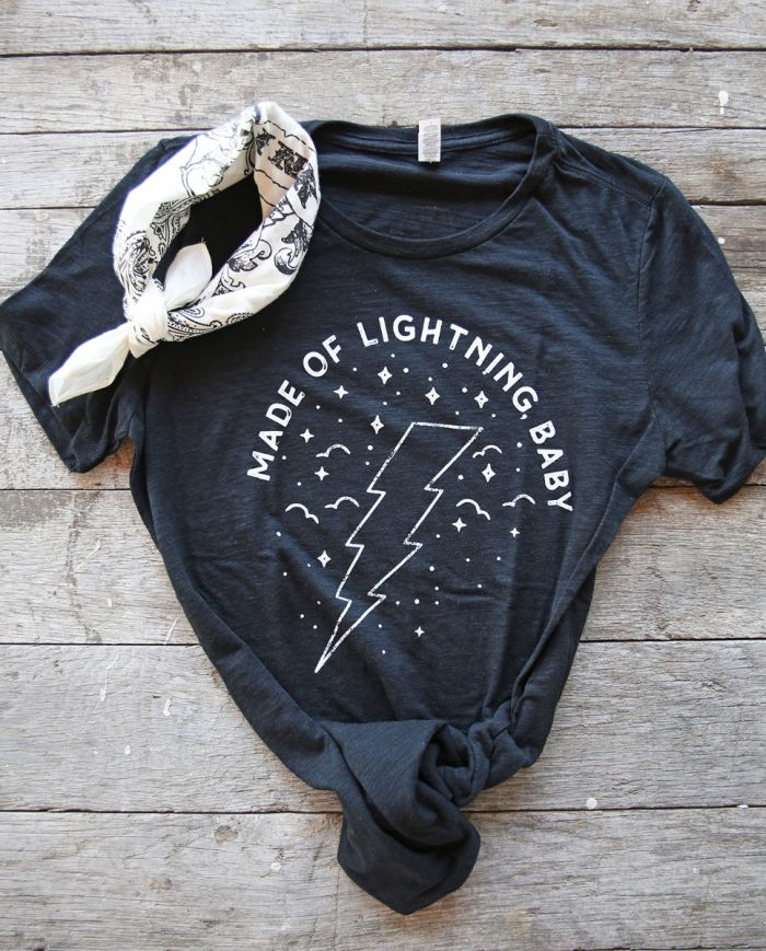 made of lightning baby black slub tee