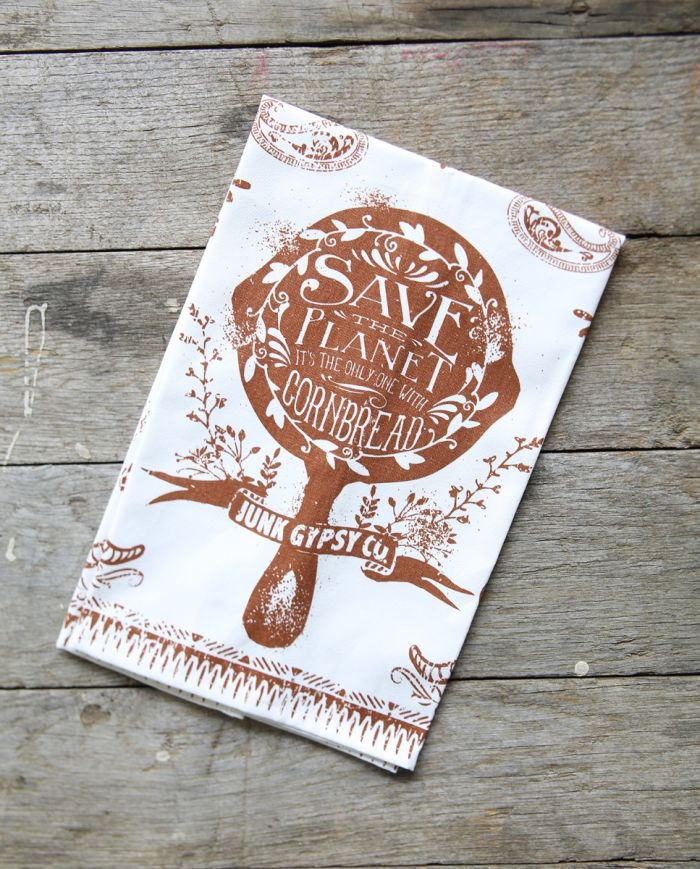 Save The Planet, It's the Only One with Cornbread Tea Towel